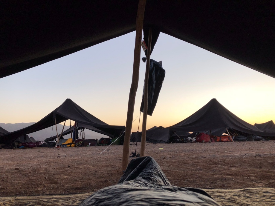 First sunrise in the desert, looking out of my tent from my sleeping bag